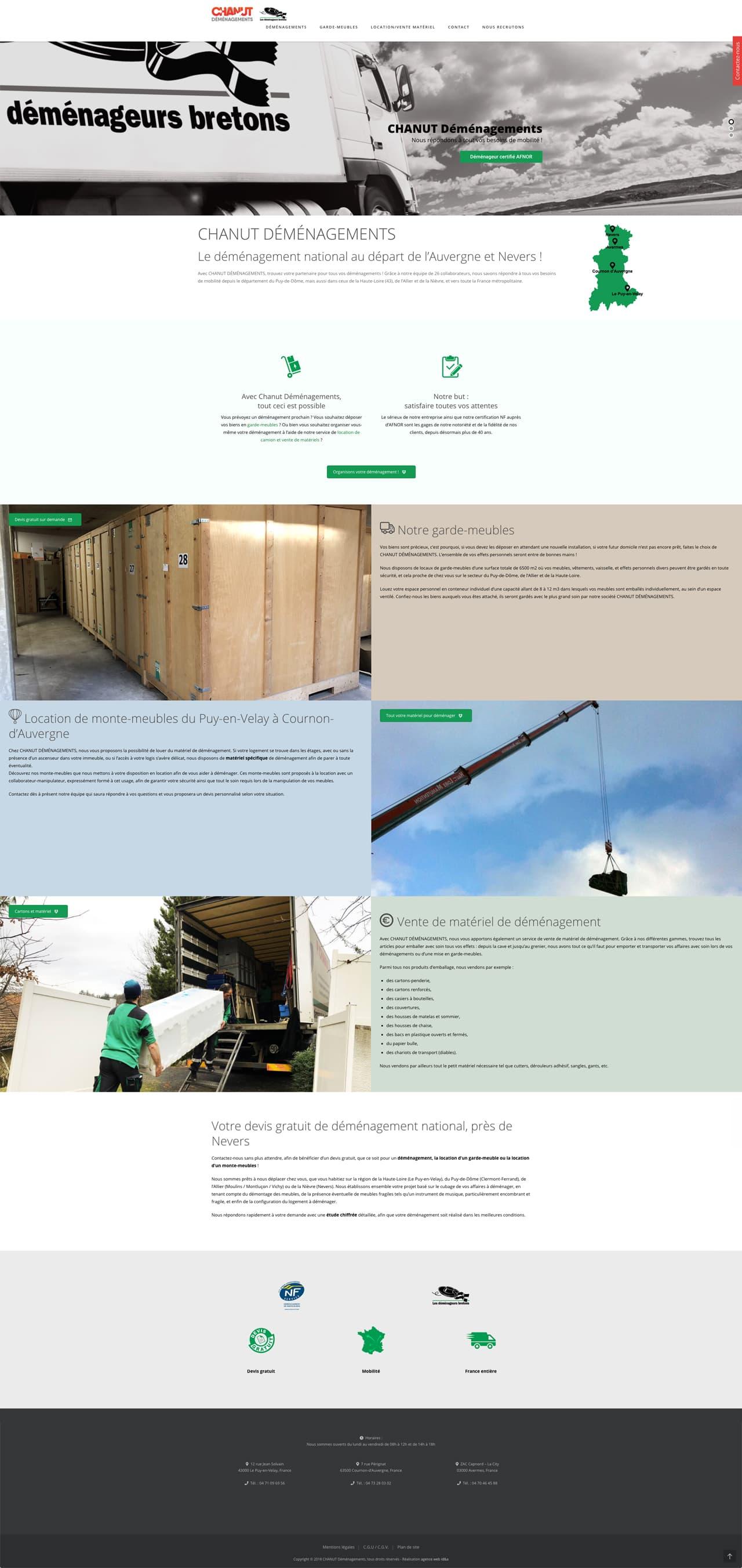 Photos de la création de Site vitrine CHANUT Déménagements