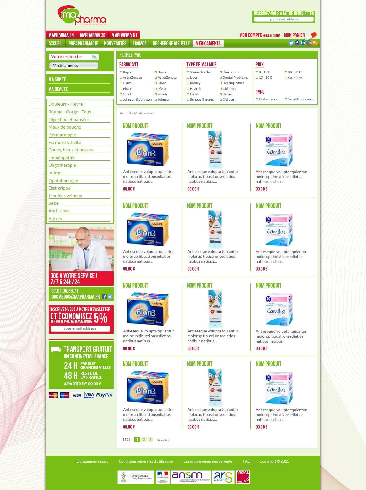 Photo du site Site marchand Ma ¨Pharma