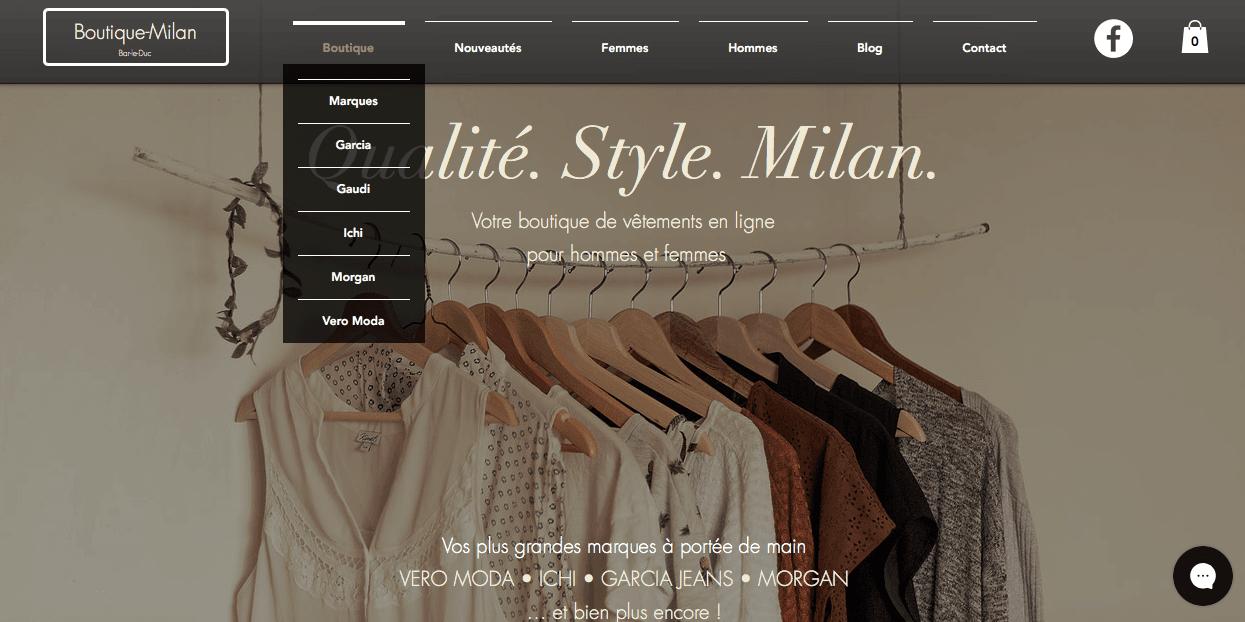 Photo du site Site marchand Boutique-Milan.fr