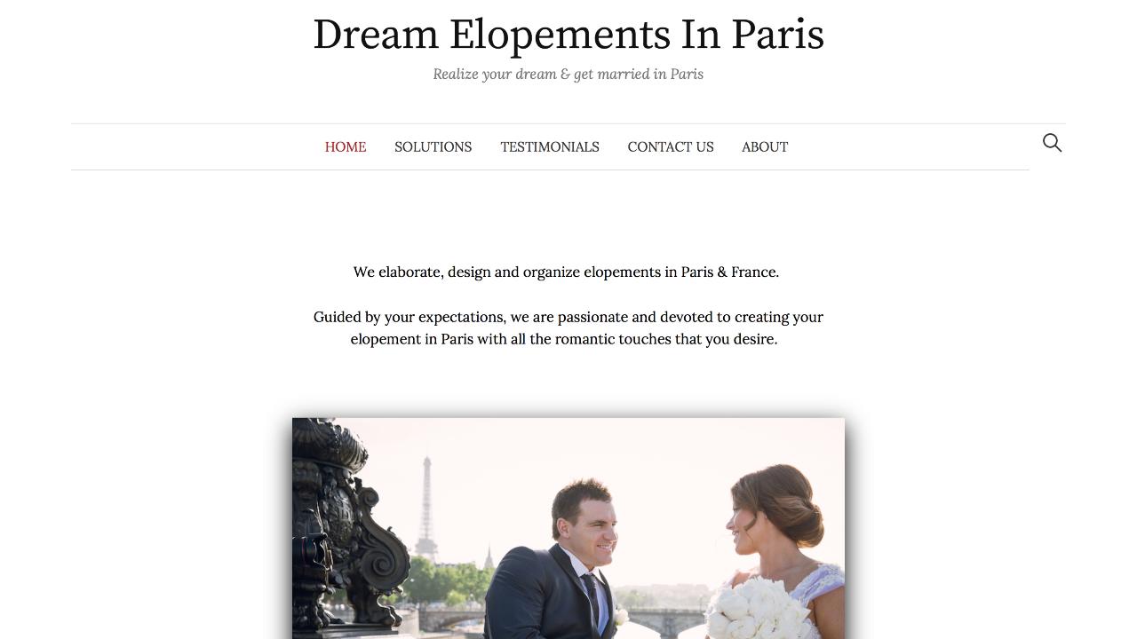 Photo du site Site vitrine Dream Elopements in Paris