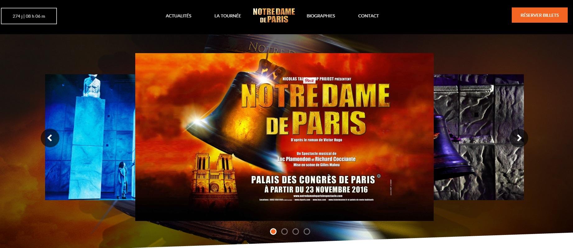 Photo du site Site vitrine Notre Dame de Paris le Spectacle