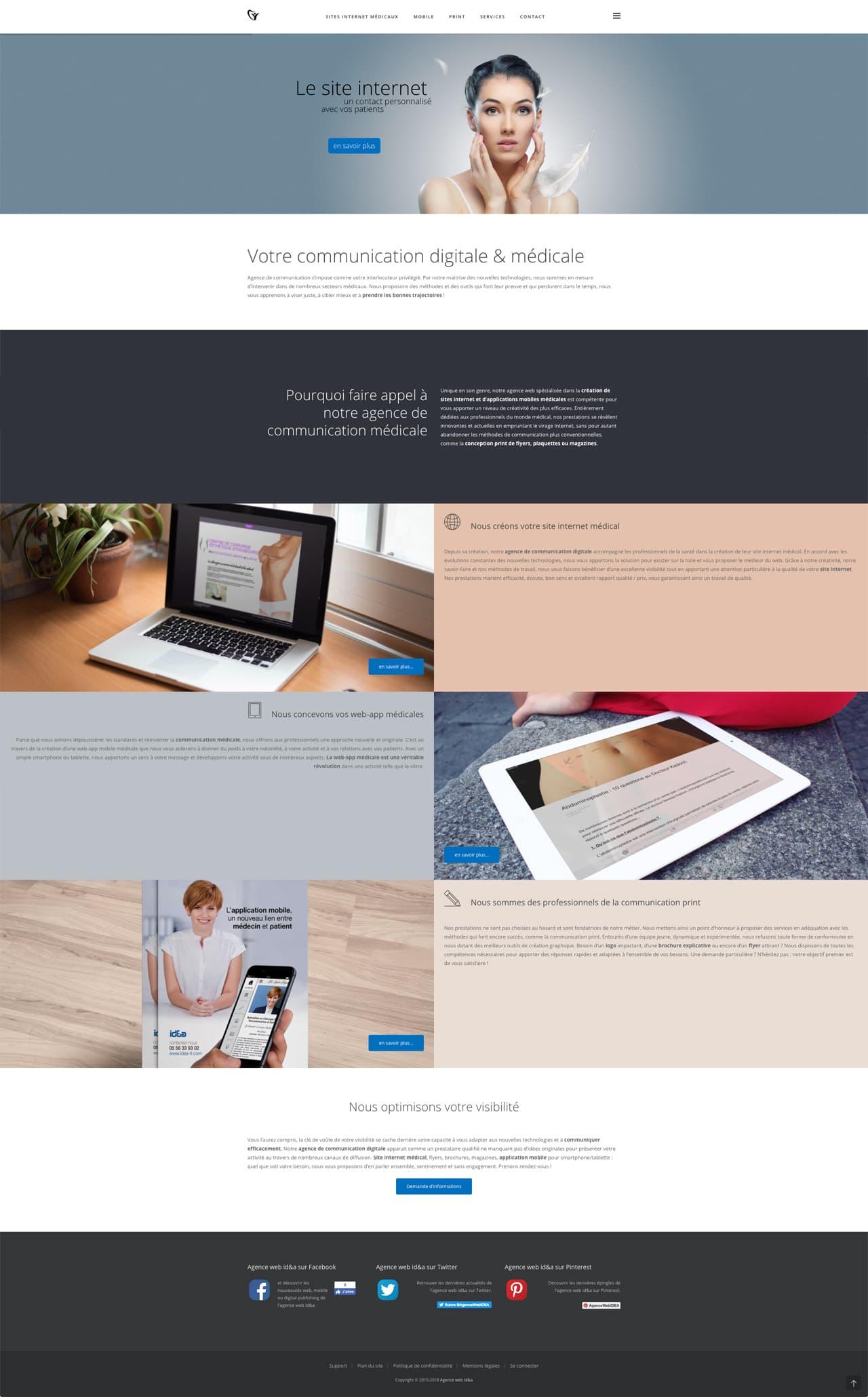 Photos de la création de Site vitrine Communication médicale
