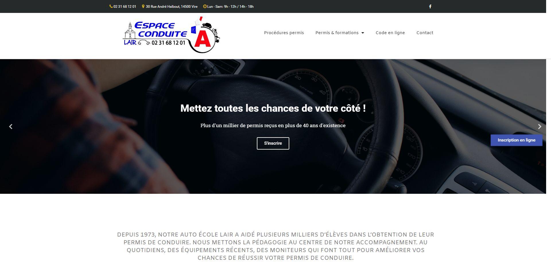 Photos de la création de Site vitrine Lair Auto école à Vire