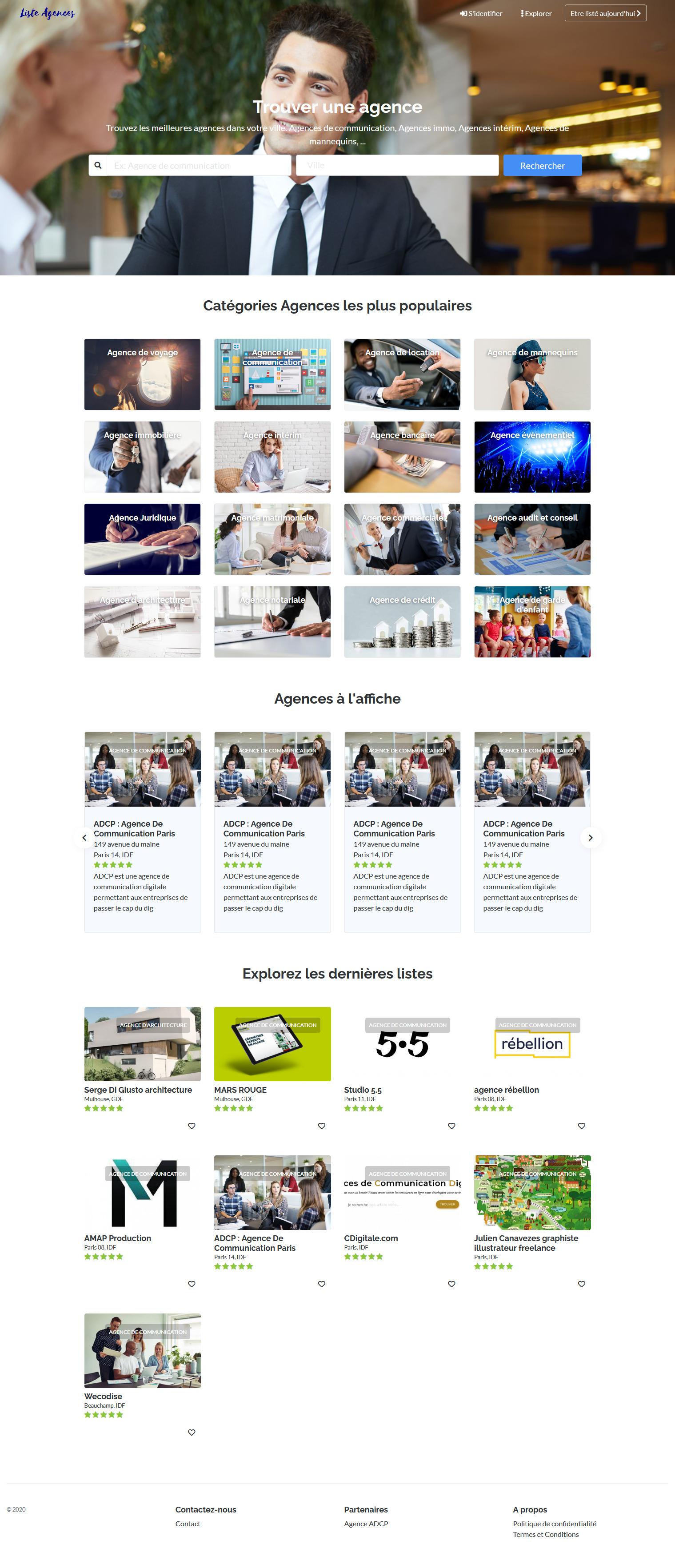 Photos de la création de Site vitrine Liste agences